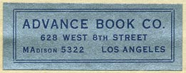 Advance Book Co., Los Angeles, California (42mm x 16mm).