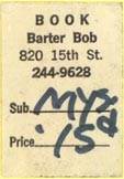 Book Barter Bob, Denver, Colorado (approx 18mm x 26mm). Courtesy of J.C. & P.C. Dast.