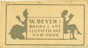 W. Beyer, Books & Art, New York, NY (approx 28mm x 15mm)