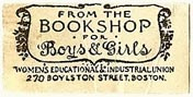 The Bookshop for Boys & Girls, Women's Educational & Industrial Union, Boston, Massachusetts (29mm x 14mm)
