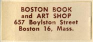 Boston Book and Art Shop, Boston, Massachusetts (30mm x 13mm, after 1953)