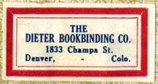 The Dieter Bookbinding Co., Denver, Colorado (37mm x 19mm)