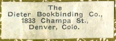 The Dieter Bookbinding Co., Denver, Colorado (38mm x 13mm)