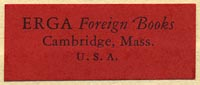 Erga Foreign Books, Cambridge, Massachusetts (32mm x 13mm, ca.1949).