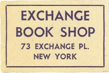 Exchange Book Shop, New York, NY (37mm x 25mm). Courtesy of J.C. & P.C. Dast.