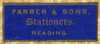 Farrer & Sons, Stationers, Reading, England (23mm x 9mm). Courtesy of Robert Behra.