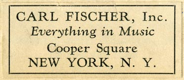 Carl Fischer [music publisher], New York, NY (61mm x 26mm). Courtesy of Robert Behra.