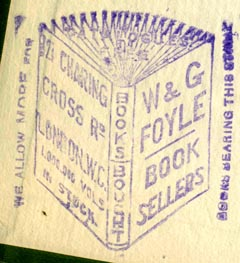 W. & G. Foyle, Book Sellers, London, England (36mm x 41mm, after 1909). Courtesy of Robert Behra.