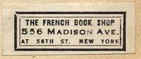 The French Book Shop, New York, NY (31mm x 12mm, ca.1940s).