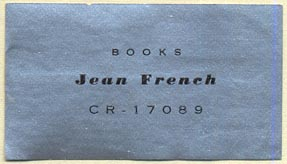 Jean French, Books (47mm x 27mm). Courtesy of Donald Francis.