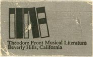 Theodore Front Musical Literature, Beverly Hills, California (approx 30mm x 18mm). Courtesy of J.C. & P.C. Dast.