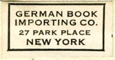 German Book Importing Co., New York , NY (28mm x 15mm, ca.1938)