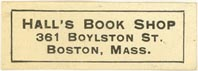 Hall's Book Shop, Boston, Massachusetts (approx 32mm x 11mm)