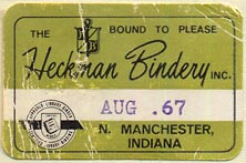 Heckman Bindery, N. Manchester, Indiana (36mm x 24mm, ca.1967)