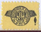 International Brotherhood of Bookbinders (21mm x 15mm, ca.1955). Courtesy of R. Behra.