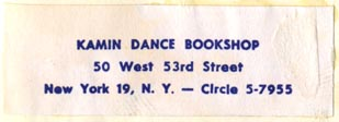 Kamin Dance Bookshop, New York, NY (51mm x 18mm). Courtesy of R. Behra.