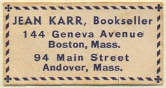 Jean Karr, Bookseller, Boston & Andover, Massachusetts (38mm x 20mm)