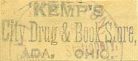 Kemp's City Drug & Book Store, Ada, Ohio (inkstamp, 33mm x 14mm)