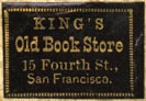 King's Old Book Store, San Francisco, California (22mm x 15mm, after 1885)