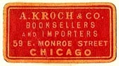 A. Kroch & Co, Booksellers and Importers, Chicago, Illinois (26mm x 14mm). Courtesy of S. Loreck.