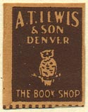 A.T. Lewis & Son, The Book Shop, Denver, Colorado (20mm x 25mm)