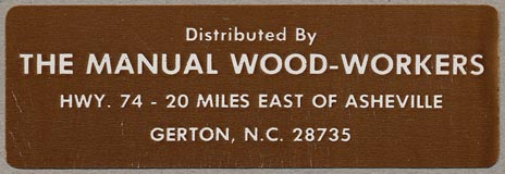 The Manual Wood-Workers, Gerton, North Carolina (76mm x 25mm, ca.1980)