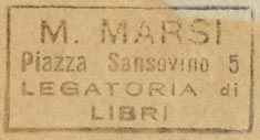 M. Marsi, Legatoria di Libri, Italy (38mm x 20mm, before 1954)