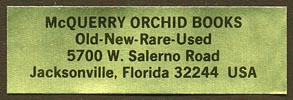 McQuerry Orchid Books, Jacksonville, Florida (46mm x 15mm).