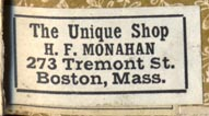 H.F. Monahan, The Unique Shop, Boston (30mm x 15mm)