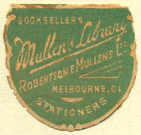 Mullen's Library -- Robertson & Mullens, Melbourne, Australia (31mm x 31mm)
