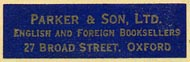 Parker & Son, Oxford, England (32mm x 9mm, ca.1953).