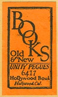 Unity Pegues, Books Old & New, Hollywood, California (19mm x 33mm).