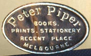 Peter Piper, Books Prints Stationery, Melbourne, Australia (30mm x 20mm, ca.1957). Courtesy of Robert Behra.