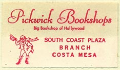 Pickwick Bookshops, Hollywood - Costa Mesa, California (38mm x 21mm)