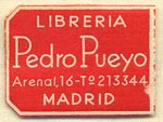 Libreria Pedro Pueyo, Madrid, Spain (23mm x 17mm). Courtesy of Donald Francis.
