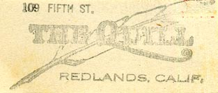 The Quill, Redlands, California (inkstamp, 49mm x 22mm). Courtesy of Donald Francis.