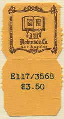 J.W. Robinson Co., Los Angeles, California (19mm x 19mm, without tear-off)