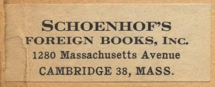 Schoenhof's Foreign Books, Cambridge, Massachusetts (50mm x 19mm, ca. 1951).