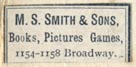 M.S. Smith & Sons, Book Pictures Games, [New York?] (22mm x 10mm)