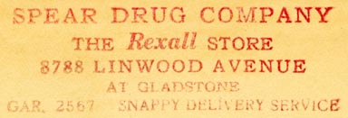 Spear Drug Company, Detroit, Michigan (inkstamp, 62mm x 20mm, ca.1930s?)
