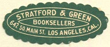 Stratford & Green, Booksellers, Los Angeles, CA (37mm x 15mm)