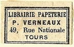 P. Verneaux, Librairie, Papeterie, Tours, France (23mm x 14mm). Courtesy of S. Loreck.