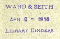 Ward & Seith, Library Binders (26mm x 15mm, ca.1915)
