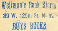 Weltman's Book Store, New York, NY (inkstamp, 30mm x 16mm)