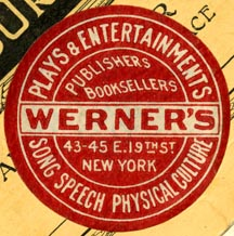 Werner's Plays & Entertainments, New York, NY (36mm dia.)