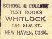 Whitlock, School & College Text Books, New Haven Conn. (28mm x 20mm)