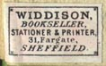 Widdison, Bookseller, Stationer & Printer, Sheffield [England] (18mm x 12mm, ca.1890s)