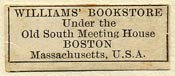 Williams' Bookstore, Boston, Massachusetts (28mm x 11mm). Courtesy of Sarah Faragher.