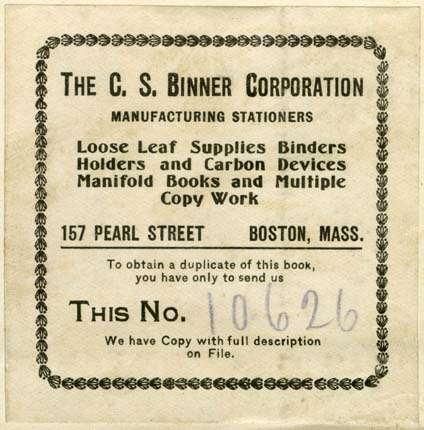 C.S. Binner Corporation, Boston, Massachusetts (69mm x 70mm, c.1908). Courtesy of Robert Behra.