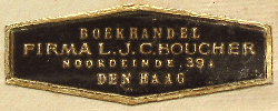 Firma L.J.C. Boucher, Boekhandel, The Hague, Netherlands (40mm x 15mm, c.1930). Courtesy of Robert G. Hill.